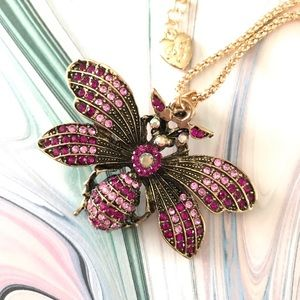 Jewelry - Beautiful Gold Butterfly Pink Rhinestones Necklace